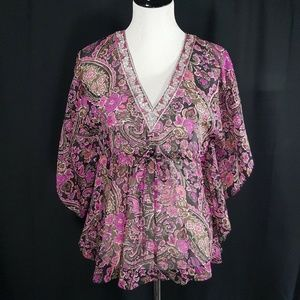 Banana Republic Purple Floral Embellished Blouse